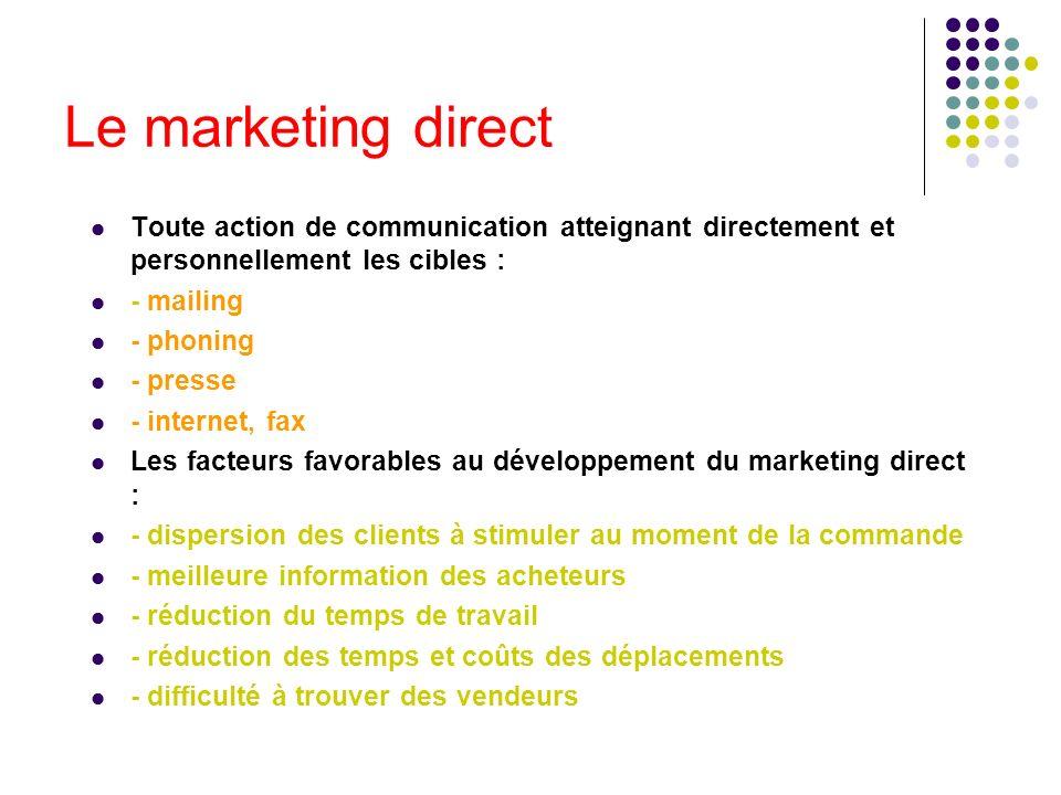 Le marketing direct Toute action de communication atteignant directement et personnellement les cibles :