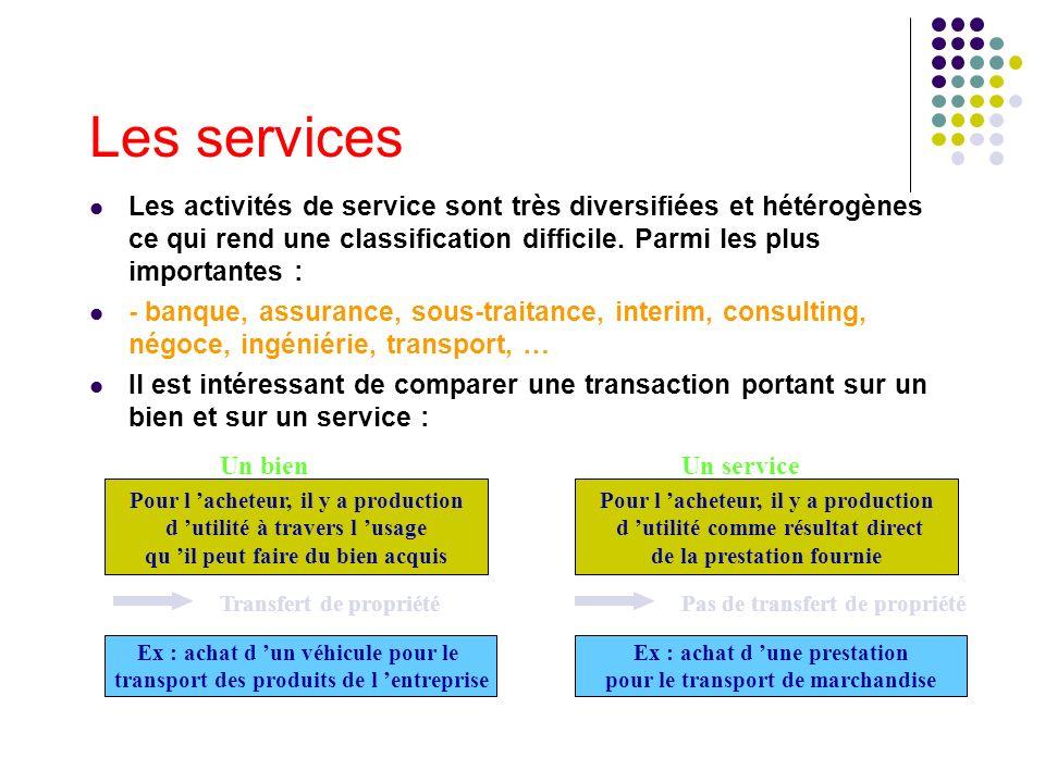 Les servicesLes activités de service sont très diversifiées et hétérogènes ce qui rend une classification difficile. Parmi les plus importantes :