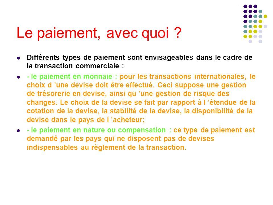 Le paiement, avec quoi Différents types de paiement sont envisageables dans le cadre de la transaction commerciale :