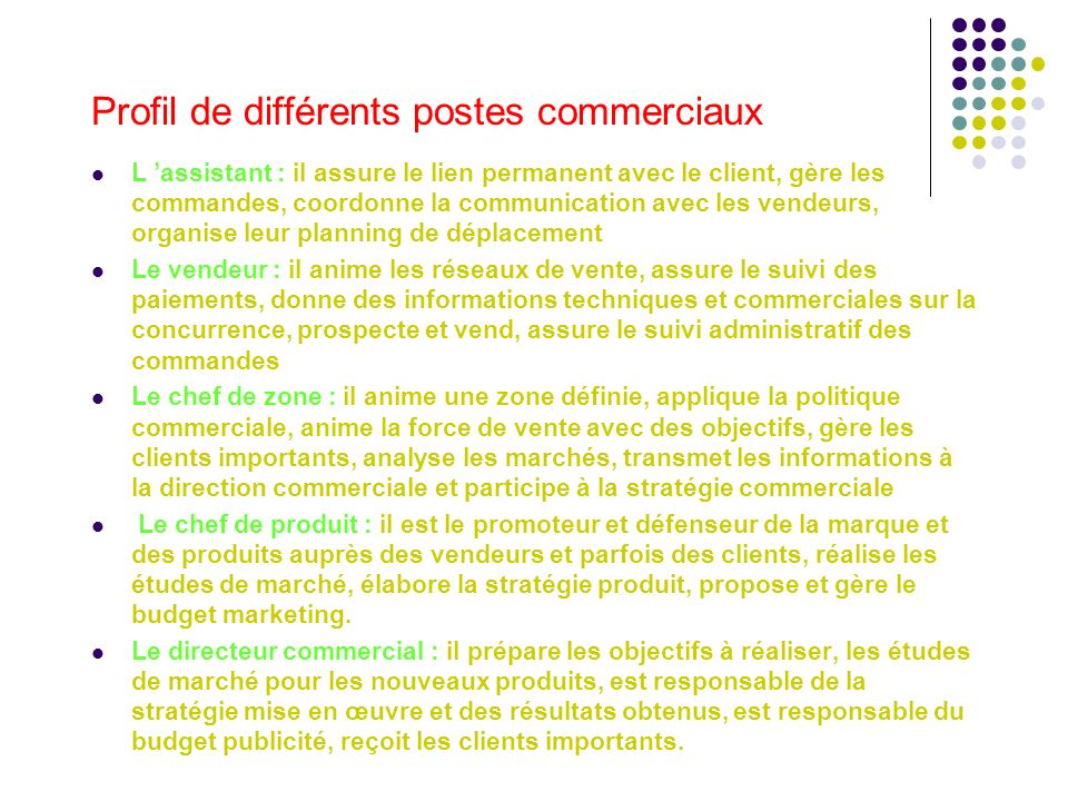 Profil de différents postes commerciaux