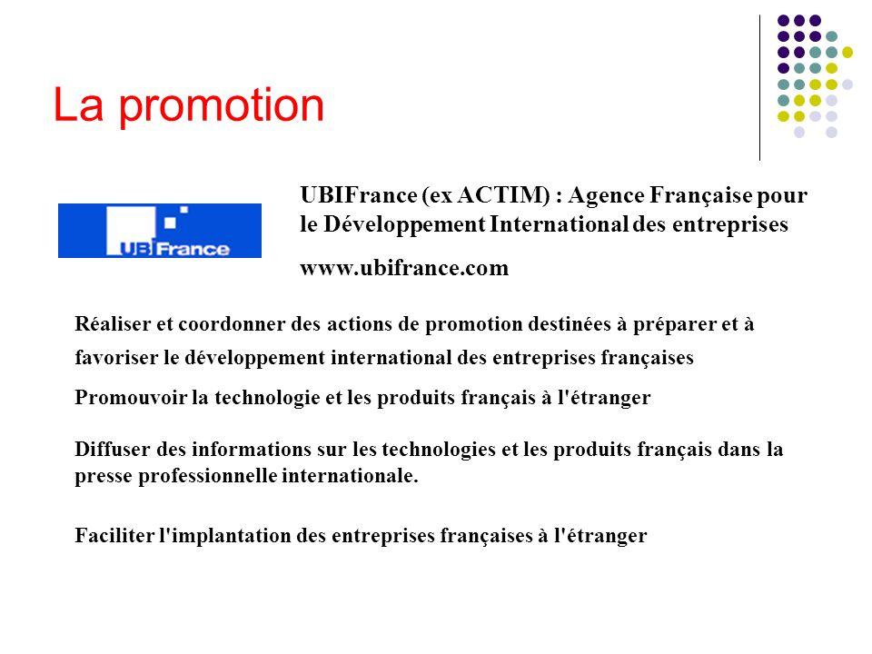 La promotionUBIFrance (ex ACTIM) : Agence Française pour le Développement International des entreprises.