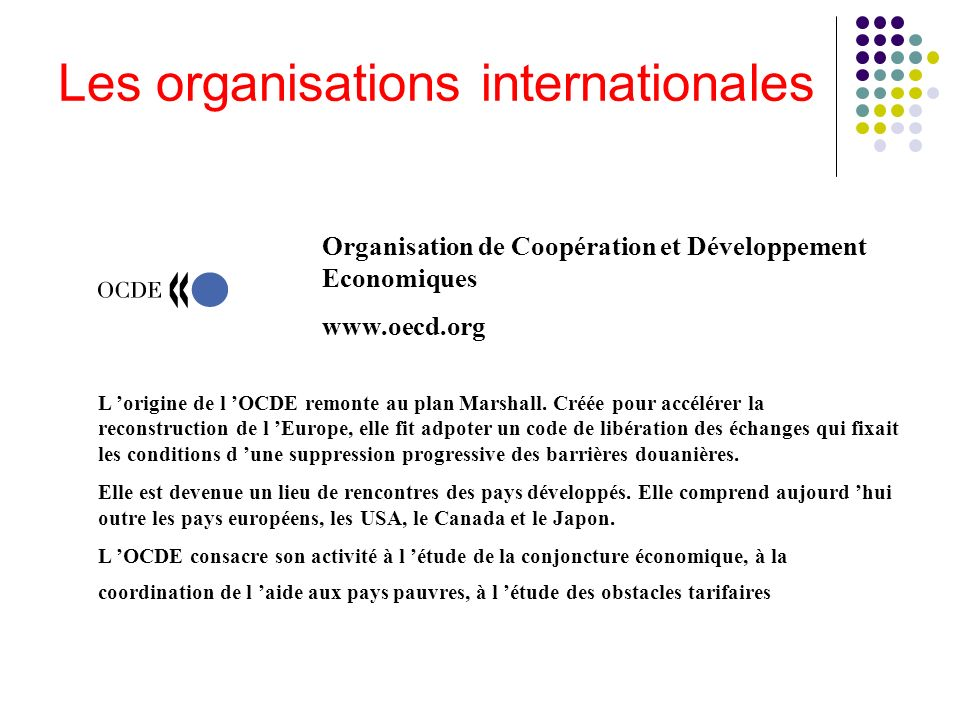 Les organisations internationales