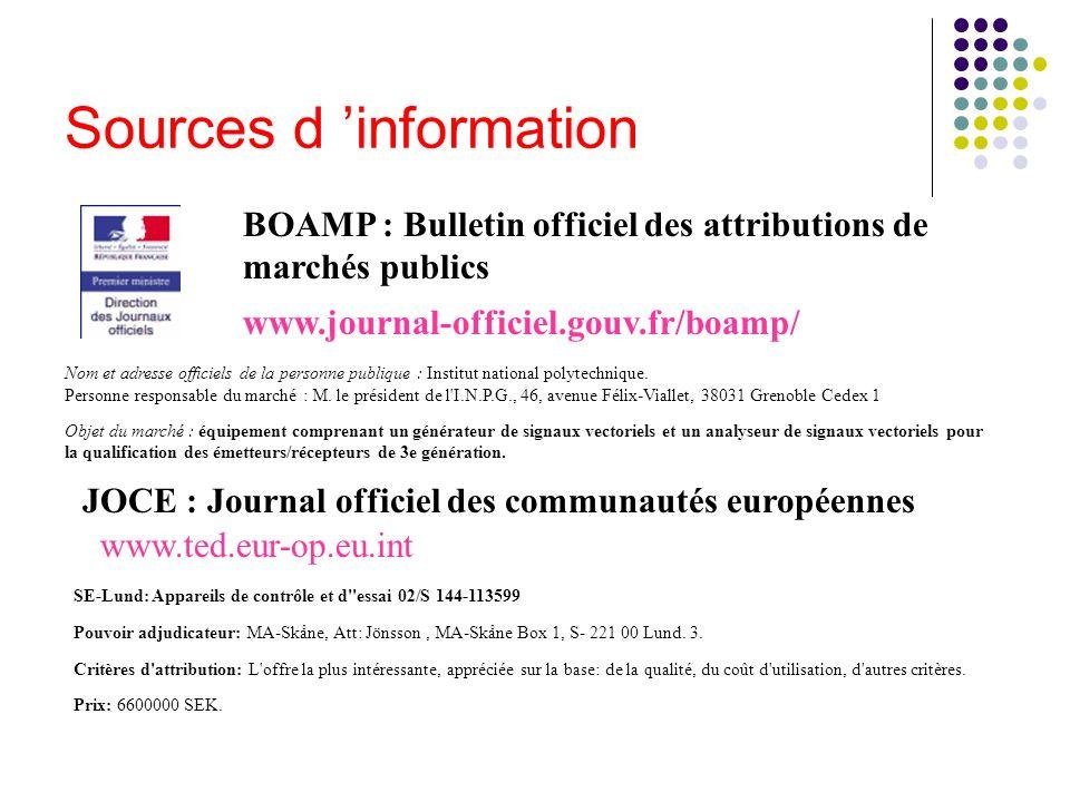 Sources d 'information
