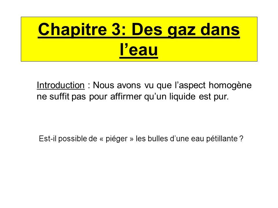 Chapitre 3: Des gaz dans l'eau