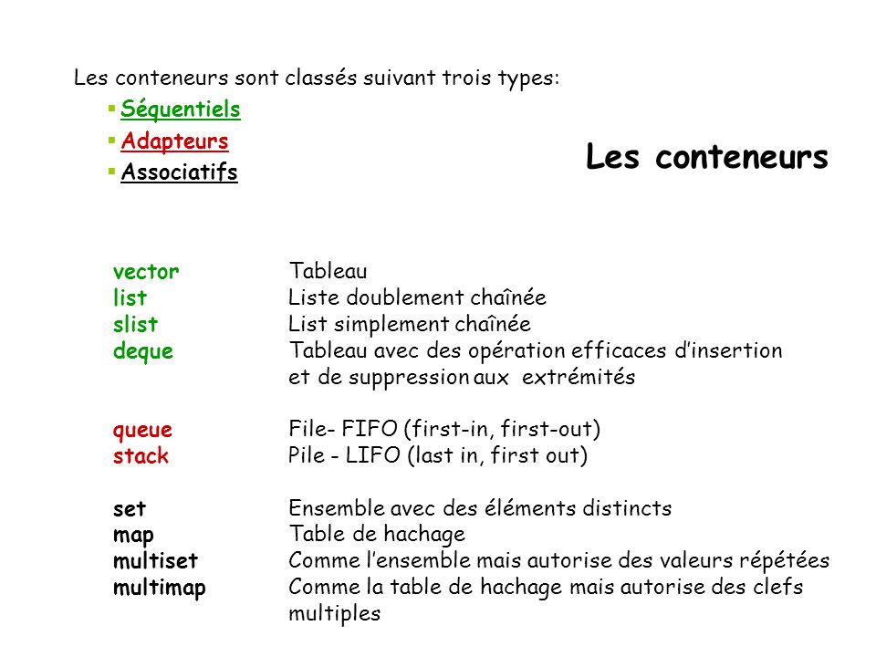 Les conteneurs Les conteneurs sont classés suivant trois types: