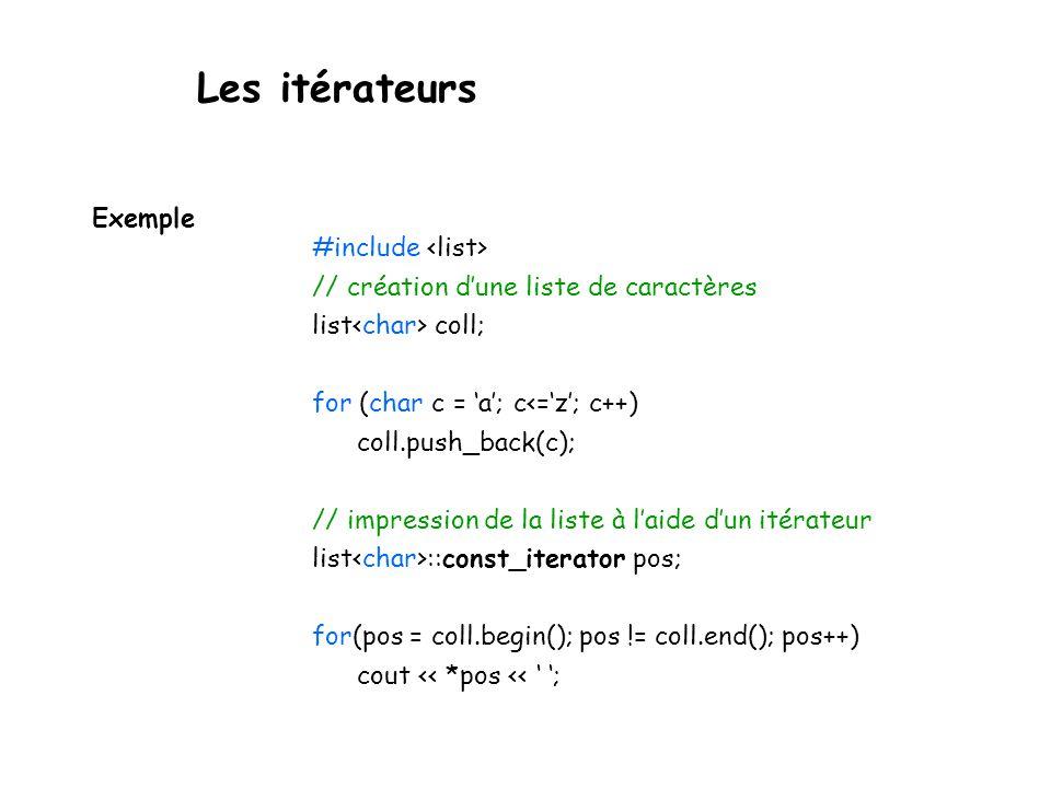 Les itérateurs Exemple #include <list>