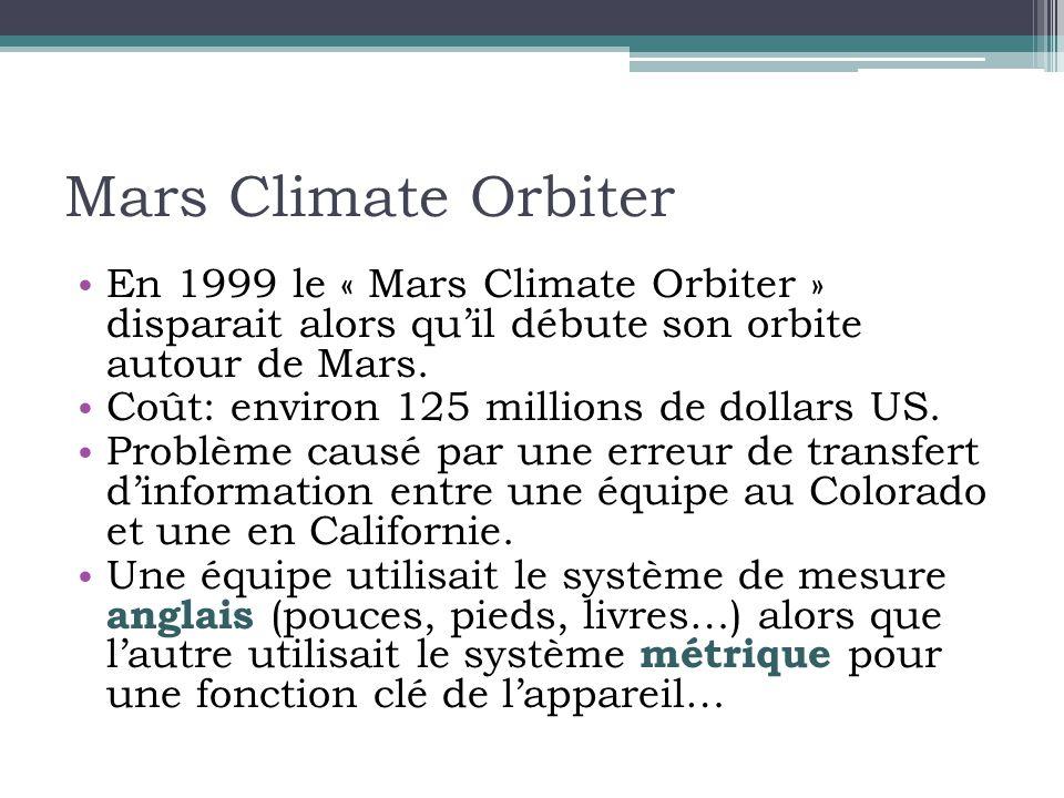 Mars Climate Orbiter En 1999 le « Mars Climate Orbiter » disparait alors qu'il débute son orbite autour de Mars.