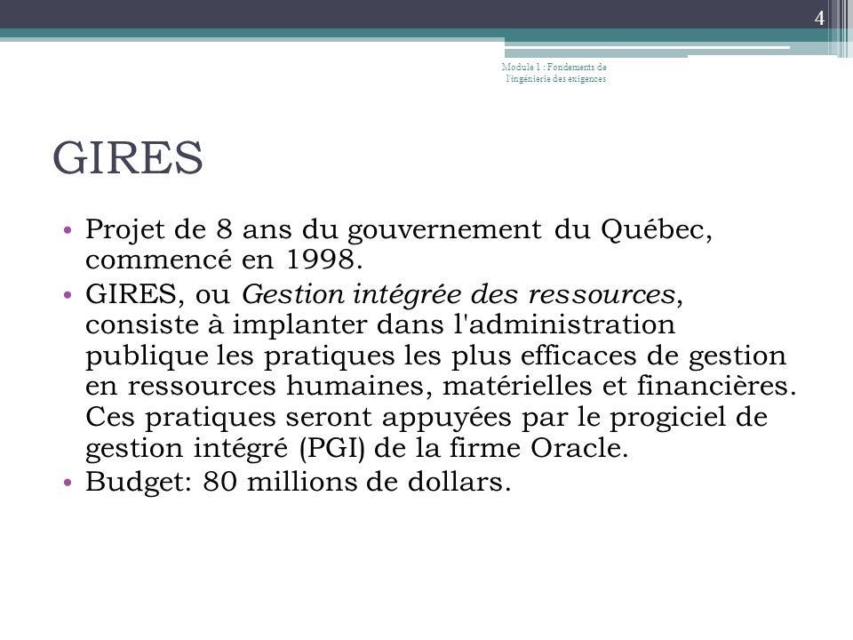 GIRES Projet de 8 ans du gouvernement du Québec, commencé en 1998.