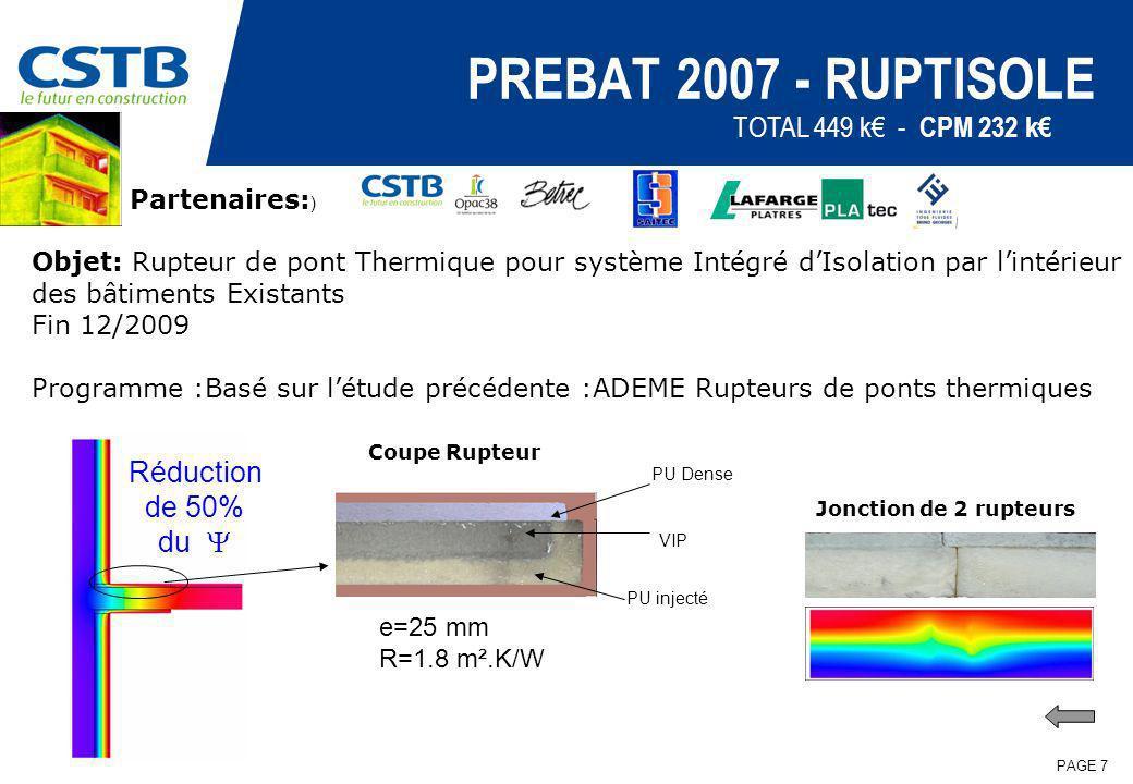 PREBAT 2007 - RUPTISOLE TOTAL 449 k€ - CPM 232 k€ Réduction de 50%