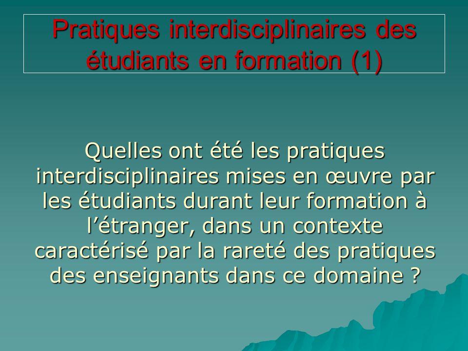 Pratiques interdisciplinaires des étudiants en formation (1)