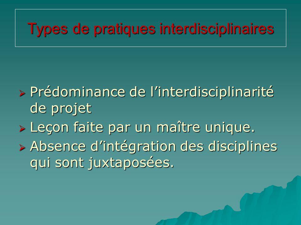 Types de pratiques interdisciplinaires
