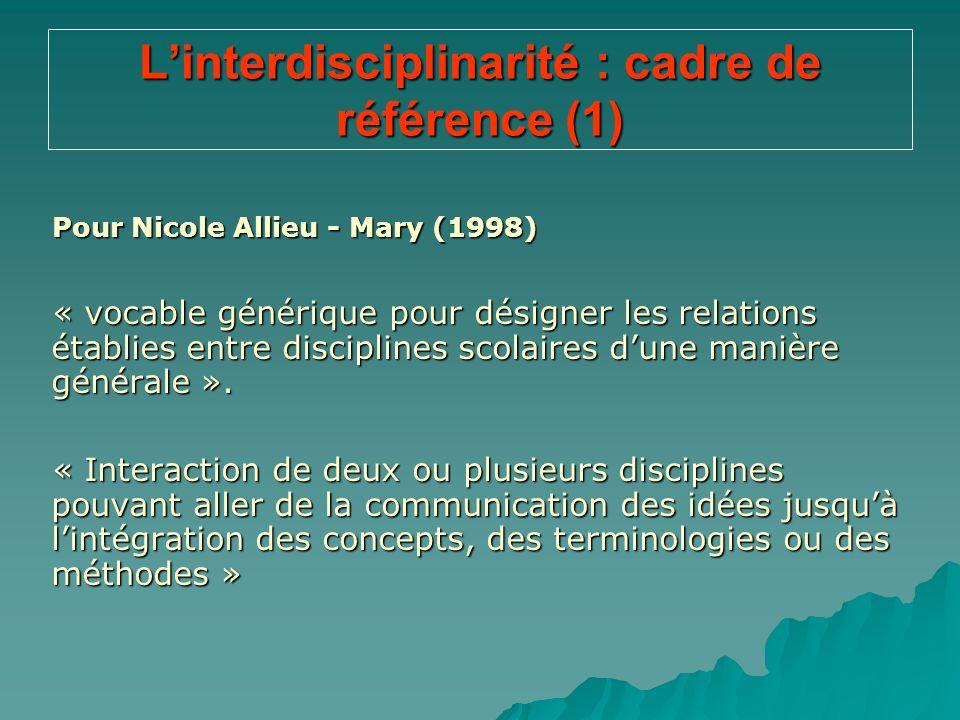 L'interdisciplinarité : cadre de référence (1)