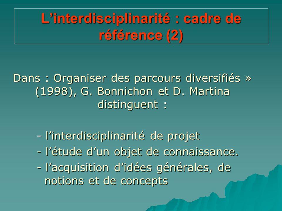 L'interdisciplinarité : cadre de référence (2)