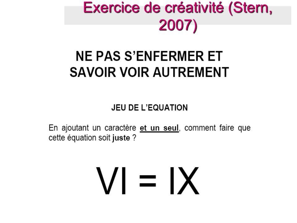 Exercice de créativité (Stern, 2007)