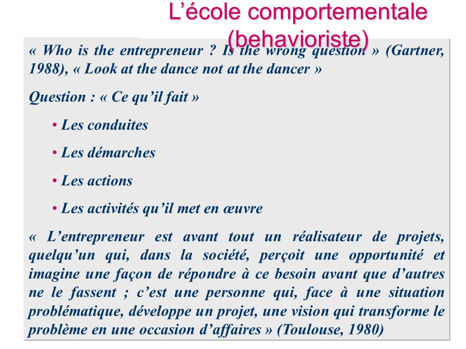 L'école comportementale (behavioriste)