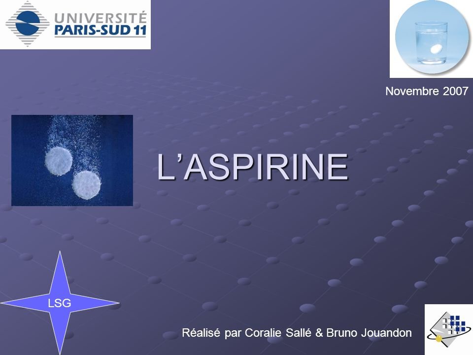 L'ASPIRINE Novembre 2007 LSG
