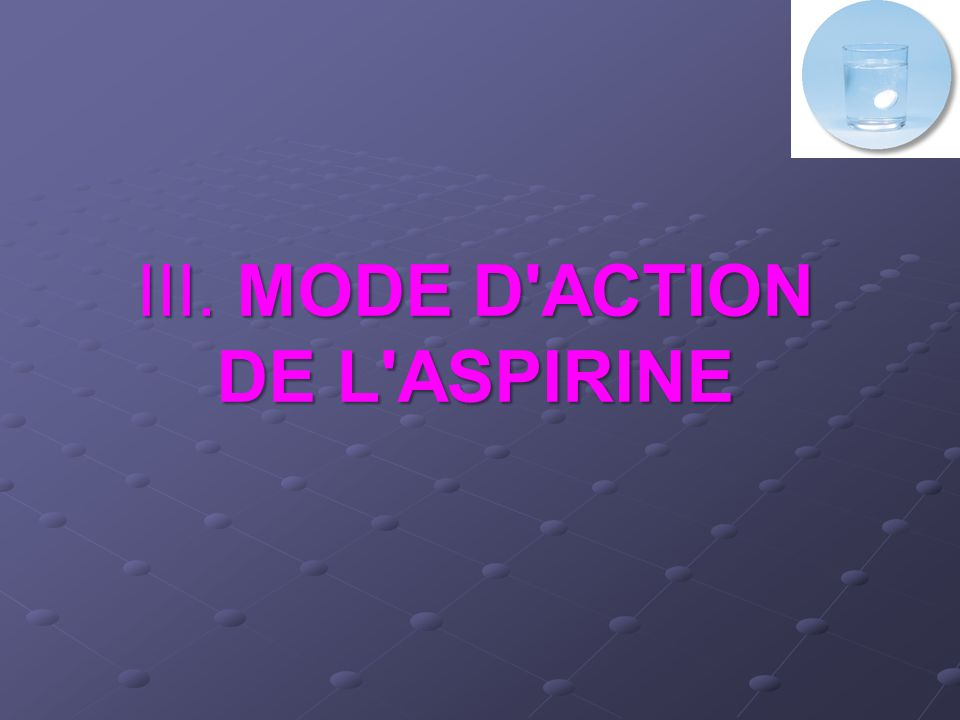 III. MODE D ACTION DE L ASPIRINE