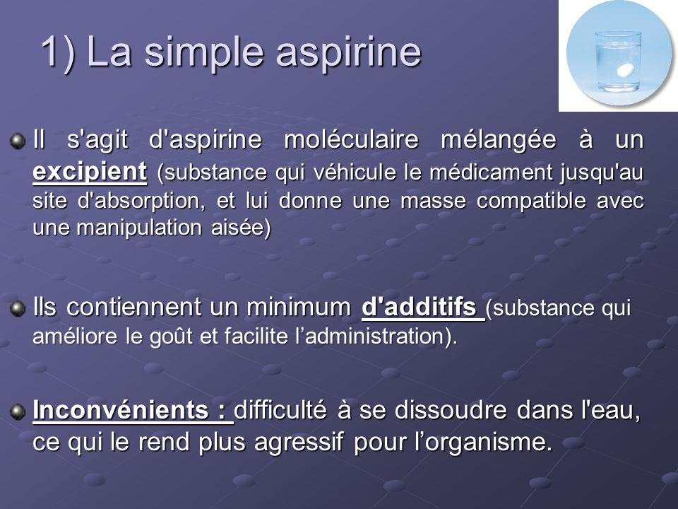 1) La simple aspirine