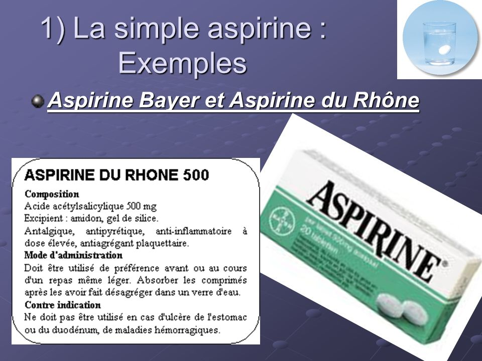 1) La simple aspirine : Exemples