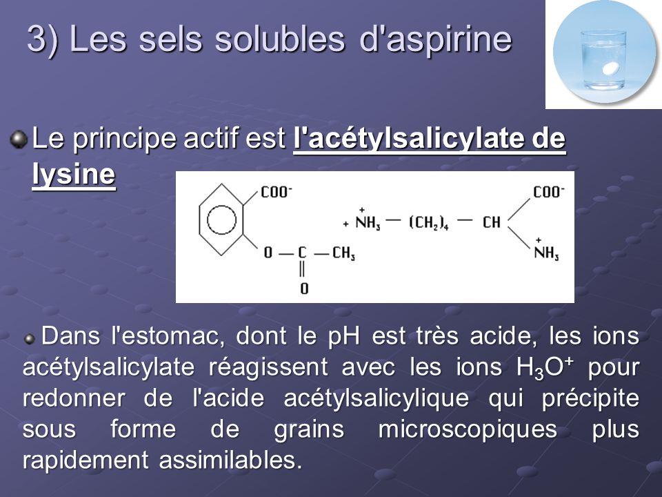 3) Les sels solubles d aspirine