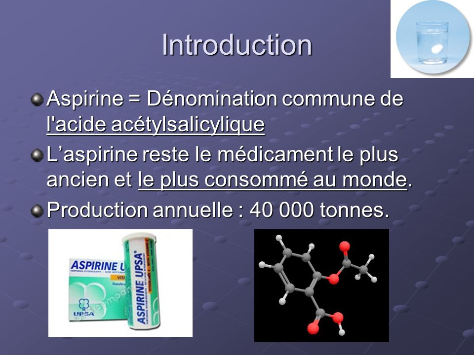 Introduction Aspirine = Dénomination commune de l acide acétylsalicylique.
