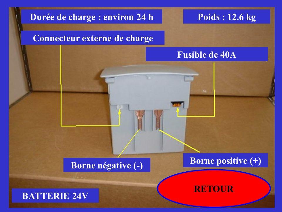 Durée de charge : environ 24 h Connecteur externe de charge