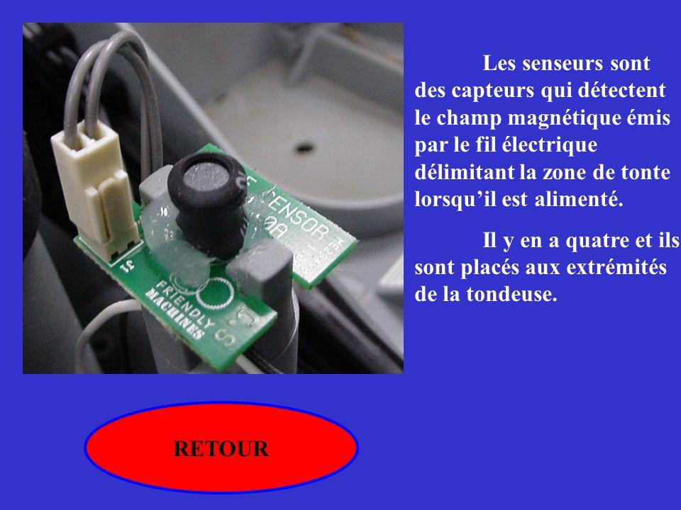 Les senseurs sont des capteurs qui détectent le champ magnétique émis par le fil électrique délimitant la zone de tonte lorsqu'il est alimenté.