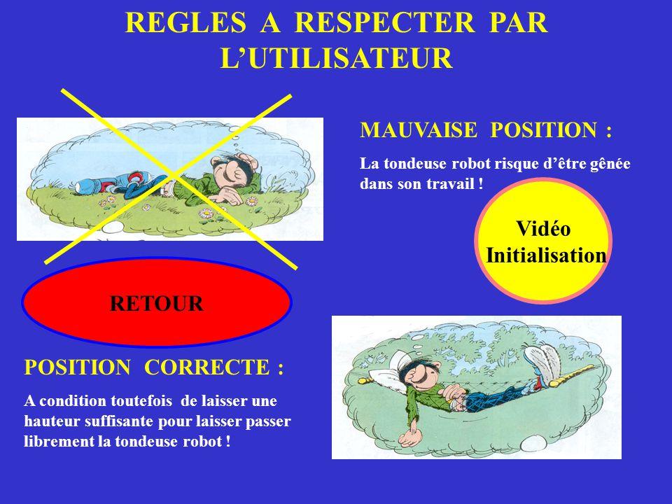 REGLES A RESPECTER PAR L'UTILISATEUR