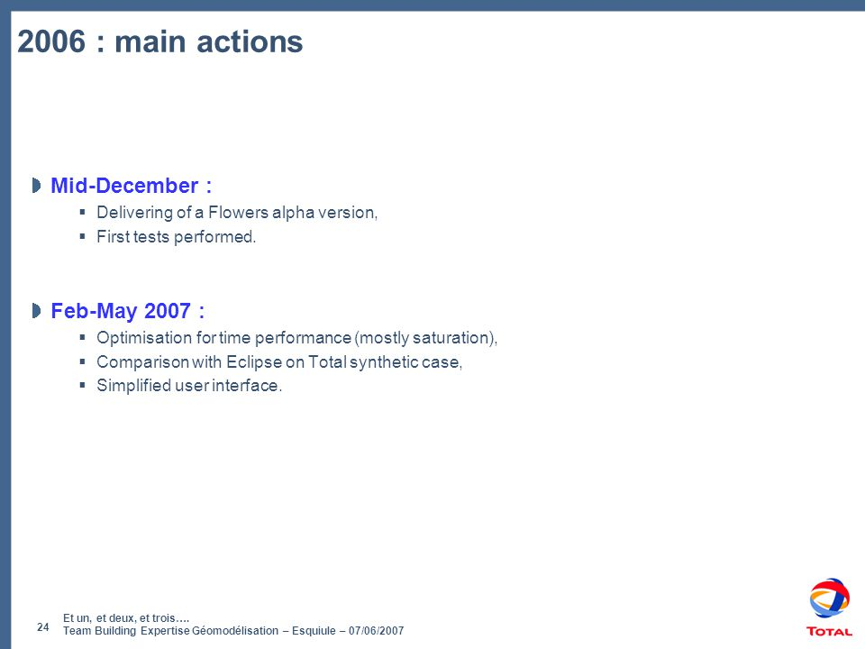 2006 : main actions Mid-December : Feb-May 2007 :