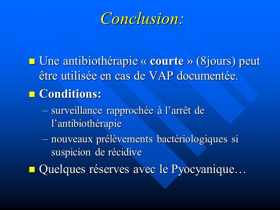 Conclusion: Une antibiothérapie « courte » (8jours) peut être utilisée en cas de VAP documentée. Conditions: