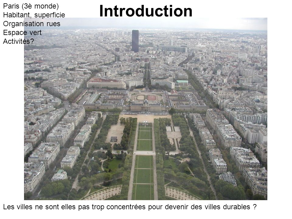 Introduction Paris (3è monde) Habitant, superficie Organisation rues