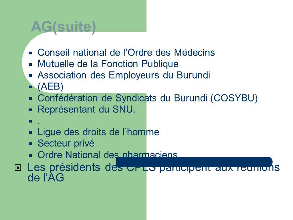 AG(suite) Les présidents des CPLS participent aux réunions de l'AG