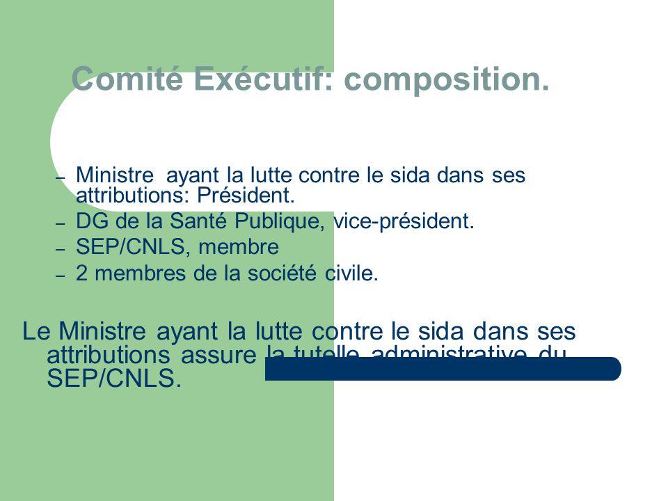 Comité Exécutif: composition.