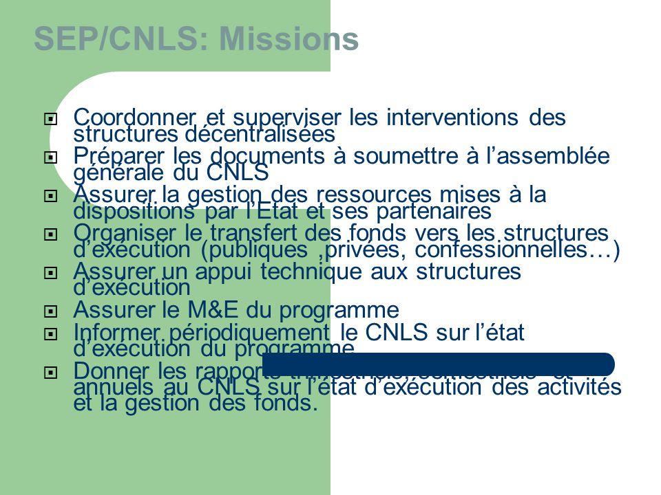 SEP/CNLS: Missions Coordonner et superviser les interventions des structures décentralisées.