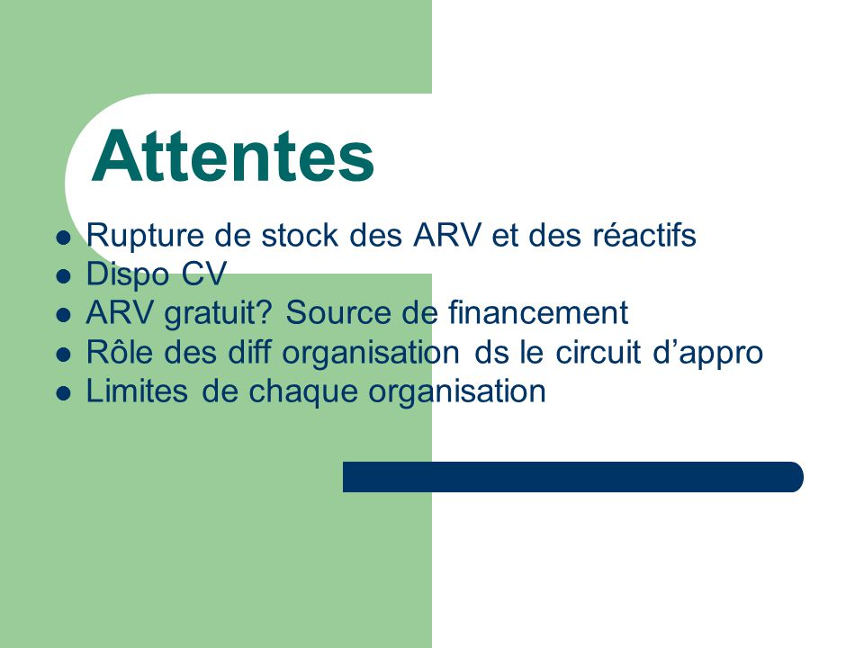 Attentes Rupture de stock des ARV et des réactifs Dispo CV
