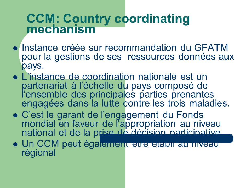 CCM: Country coordinating mechanism