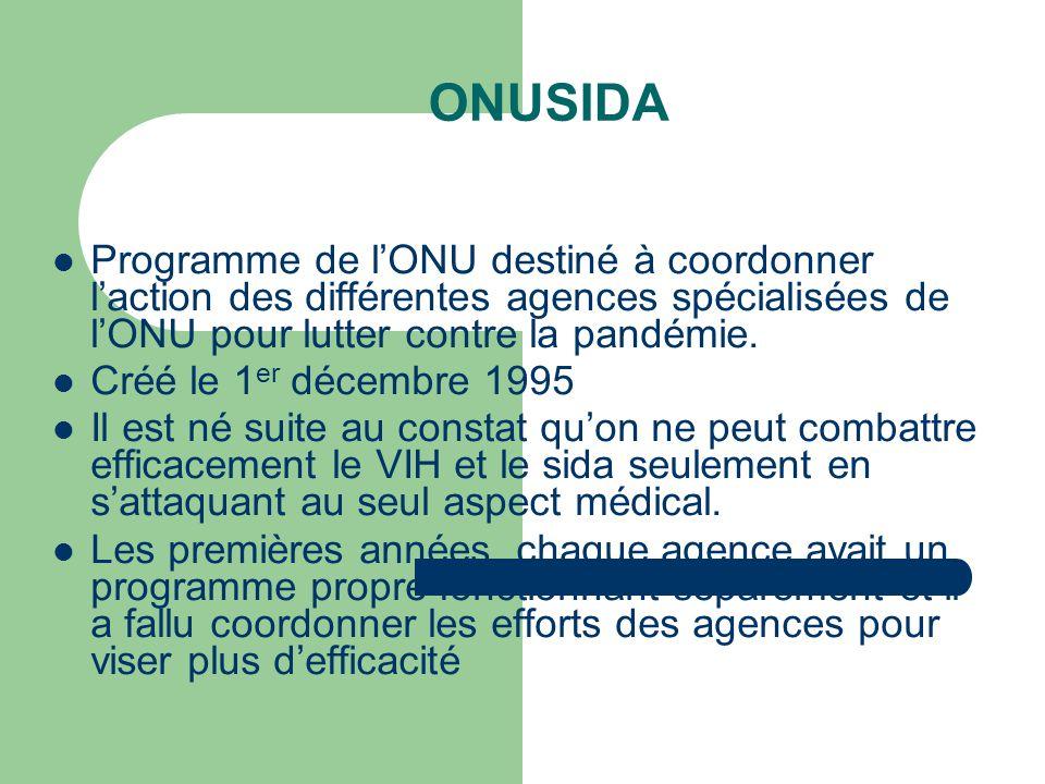 ONUSIDA Programme de l'ONU destiné à coordonner l'action des différentes agences spécialisées de l'ONU pour lutter contre la pandémie.