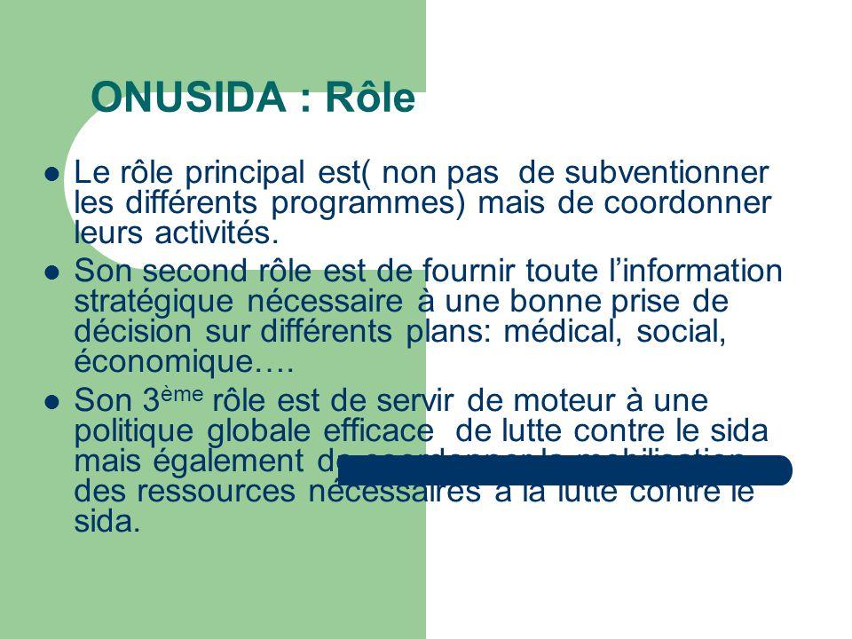 ONUSIDA : Rôle Le rôle principal est( non pas de subventionner les différents programmes) mais de coordonner leurs activités.