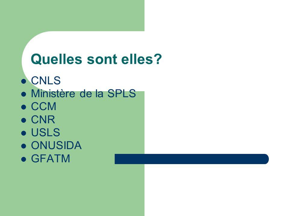 Quelles sont elles CNLS Ministère de la SPLS CCM CNR USLS ONUSIDA