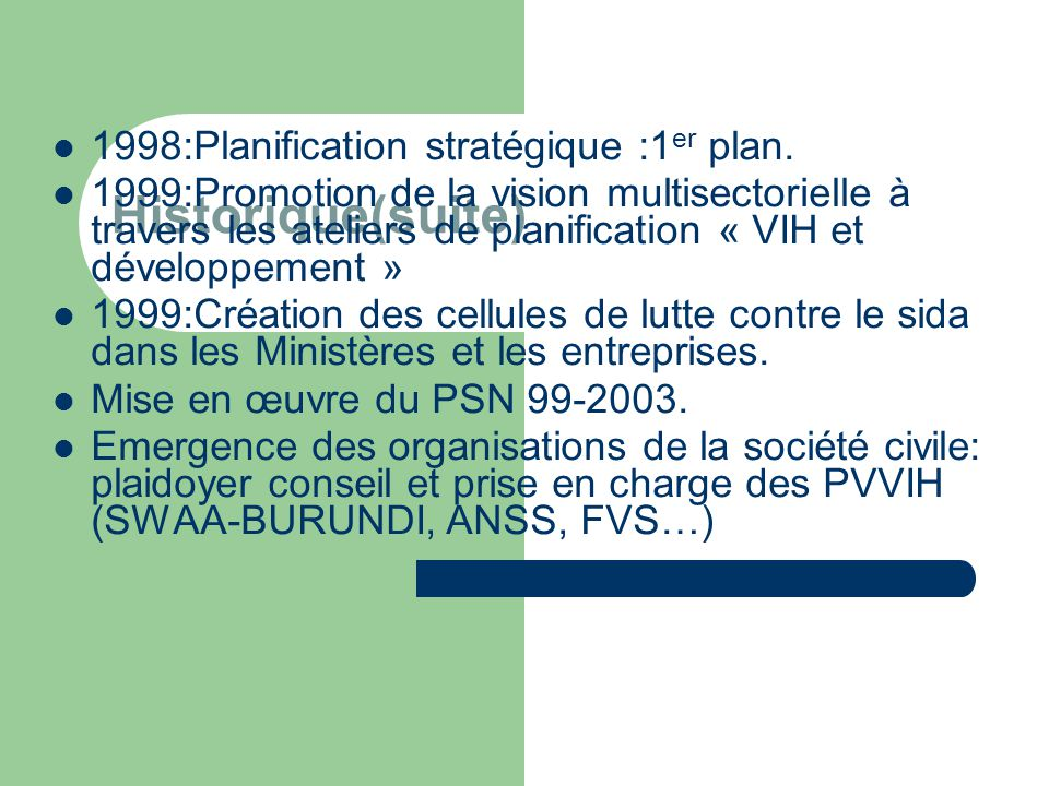 Historique(suite) 1998:Planification stratégique :1er plan.