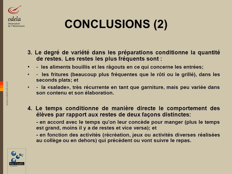 CONCLUSIONS (2) 3. Le degré de variété dans les préparations conditionne la quantité de restes. Les restes les plus fréquents sont :