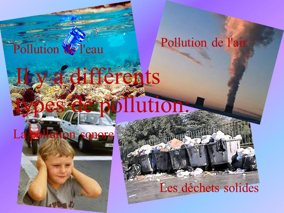 Il y a différents types de pollution: Pollution de l air