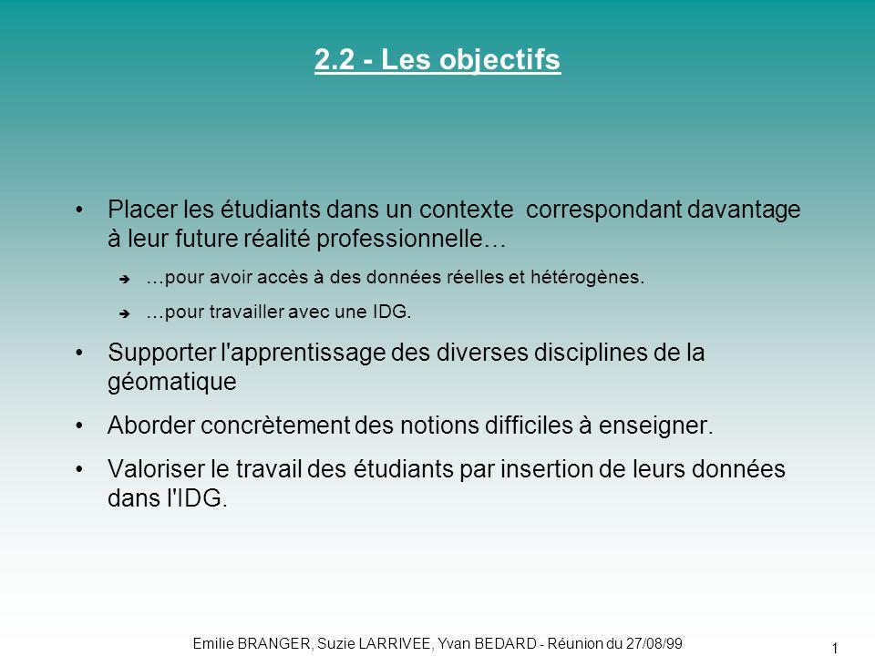 2.2 - Les objectifs Placer les étudiants dans un contexte correspondant davantage à leur future réalité professionnelle…