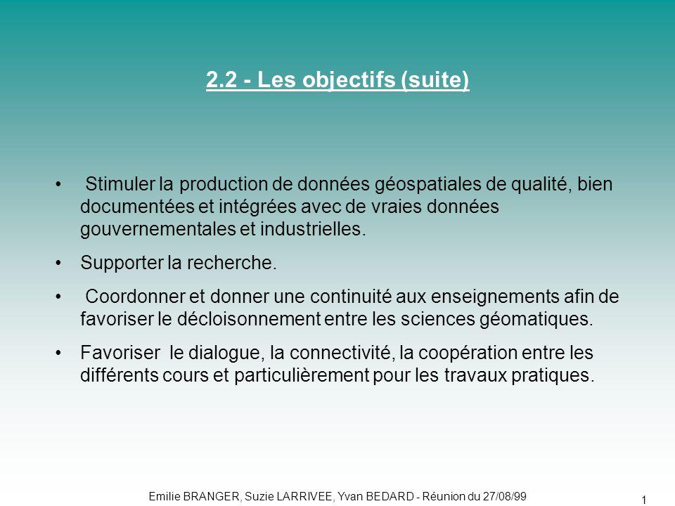2.2 - Les objectifs (suite)