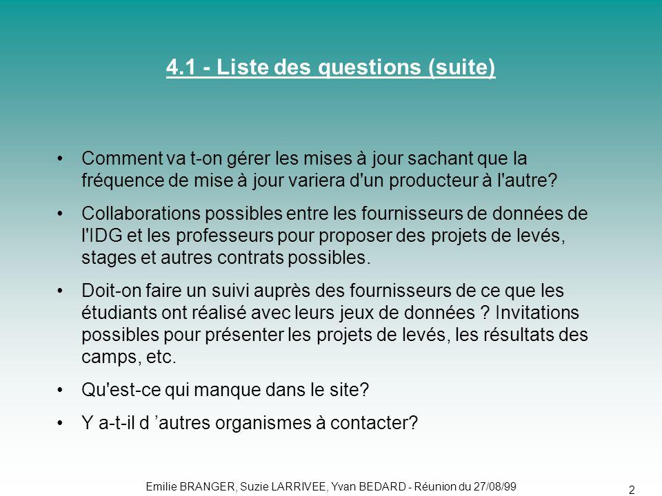 4.1 - Liste des questions (suite)