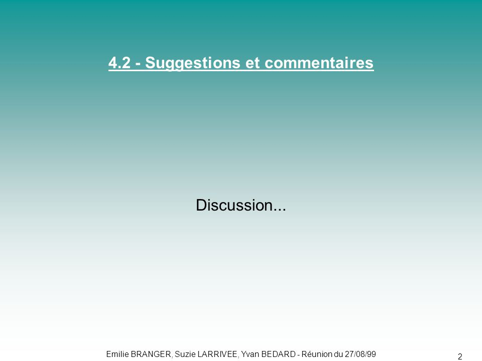 4.2 - Suggestions et commentaires