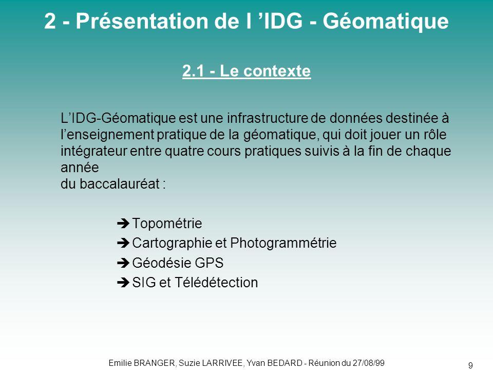 2 - Présentation de l 'IDG - Géomatique 2.1 - Le contexte