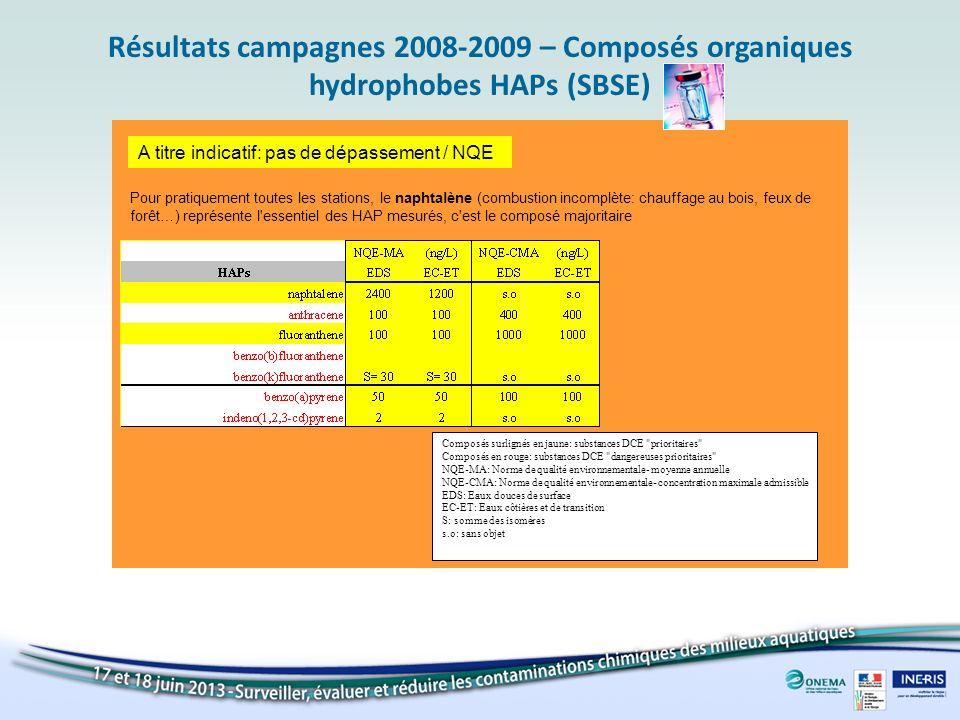 Résultats campagnes 2008-2009 – Composés organiques hydrophobes HAPs (SBSE)