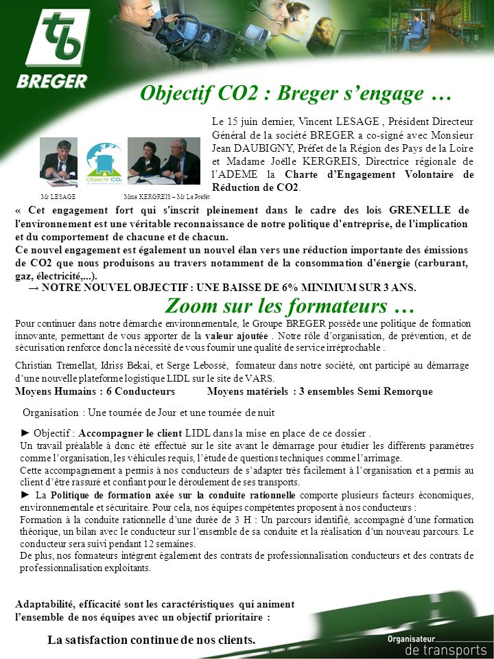 Objectif CO2 : Breger s'engage …