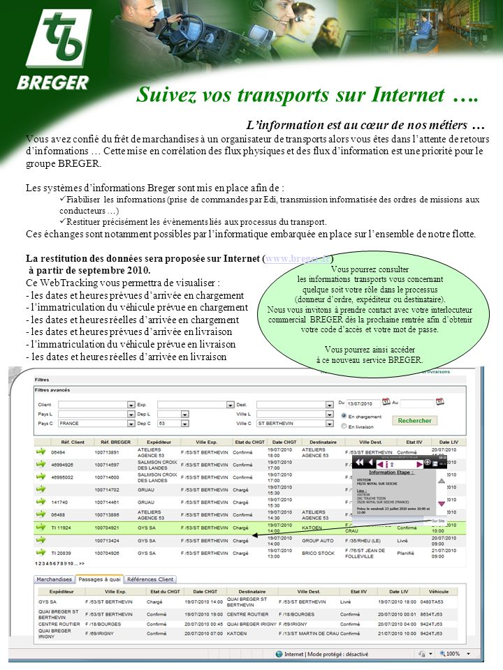 Suivez vos transports sur Internet ….